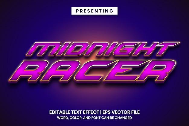 Efecto de texto editable con estilo metálico de juego de carreras Vector Premium