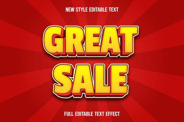 Efecto de texto editable gran venta color amarillo y rojo. Vector Premium