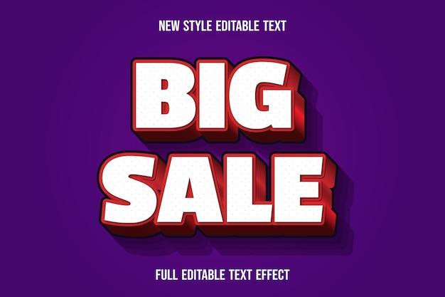 Efecto de texto editable gran venta color blanco y rojo Vector Premium