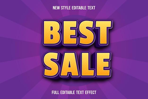 Efecto de texto editable mejor venta color amarillo y morado Vector Premium