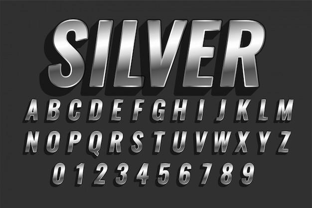 Efecto de texto de estilo 3d plateado brillante vector gratuito