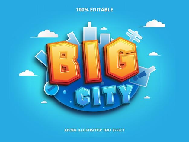 Efecto de texto de gran ciudad editable Vector Premium