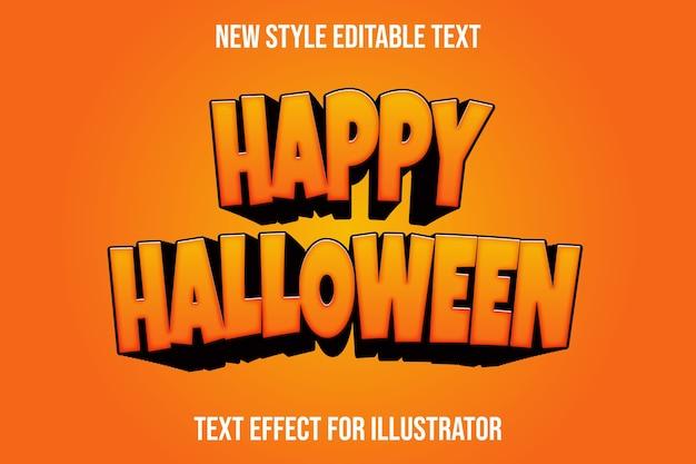 Efecto de texto happy hallowen color naranja y negro degradado Vector Premium