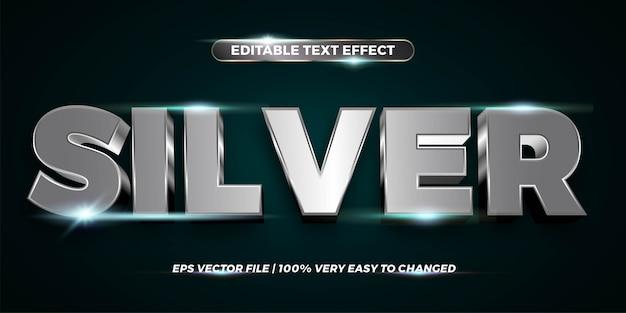 Efecto de texto en palabras de plata tema de efecto de texto concepto de metal cromado editable Vector Premium
