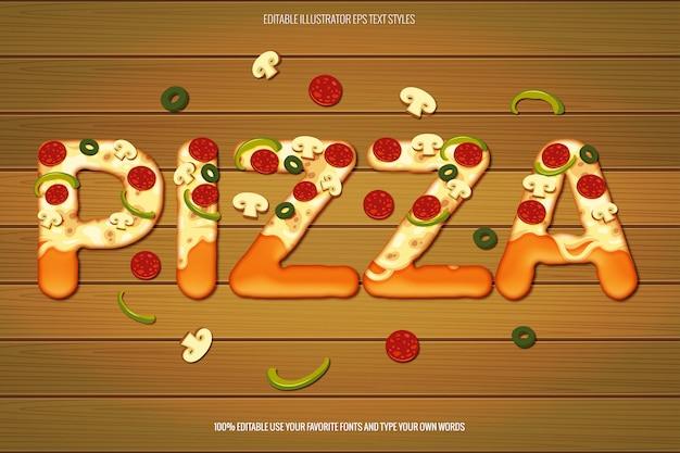 Efecto de texto de pizza, efecto de texto de pizza Vector Premium