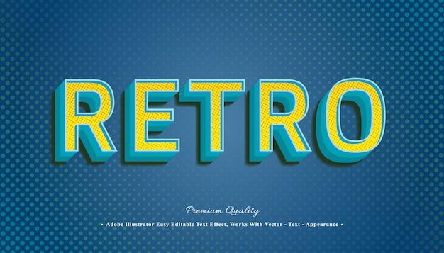 Efecto de texto retro 3d Vector Premium