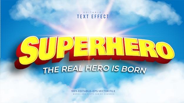 Efecto de texto de superhéroe 3d vector gratuito