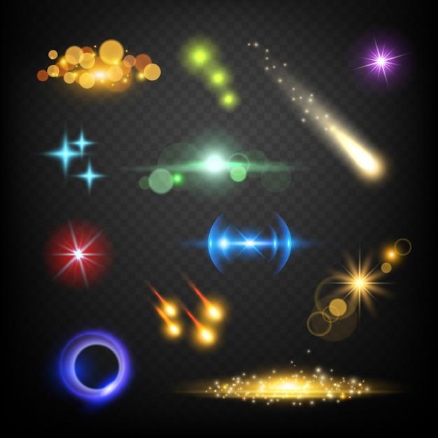Efectos de lente brillante. resplandor bokeh círculos estalló fuegos artificiales rayo vector plantilla abstracta Vector Premium
