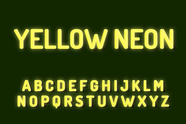 Efectos de texto de alfabeto de fuente de neón amarillo Vector Premium