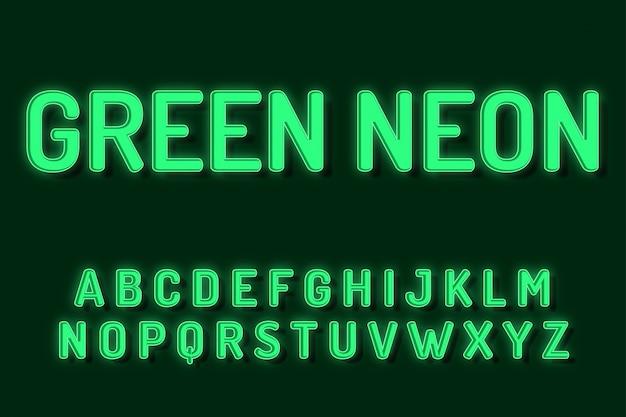 Efectos de texto de alfabeto de fuente de neón verde Vector Premium