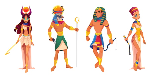 Egipto antiguo dioses y gobernantes hathor, ra, faraón, nefertiti, deidades egipcias, rey y reina con atributos de religión vector gratuito