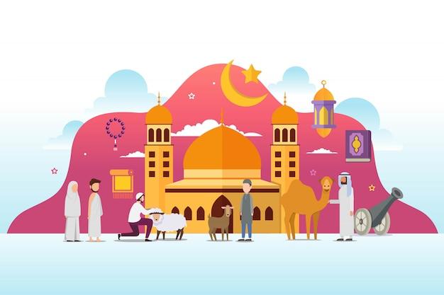 Eid adha mubarak con un concepto de diseño de personajes de personas diminutas Vector Premium