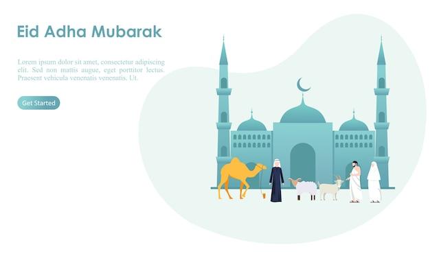 Eid adha mubarak y plantilla de hajj Vector Premium