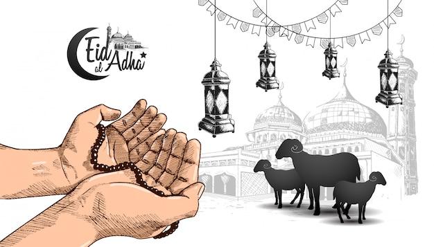 Eid al adha ramadan diseño con mano rezando Vector Premium