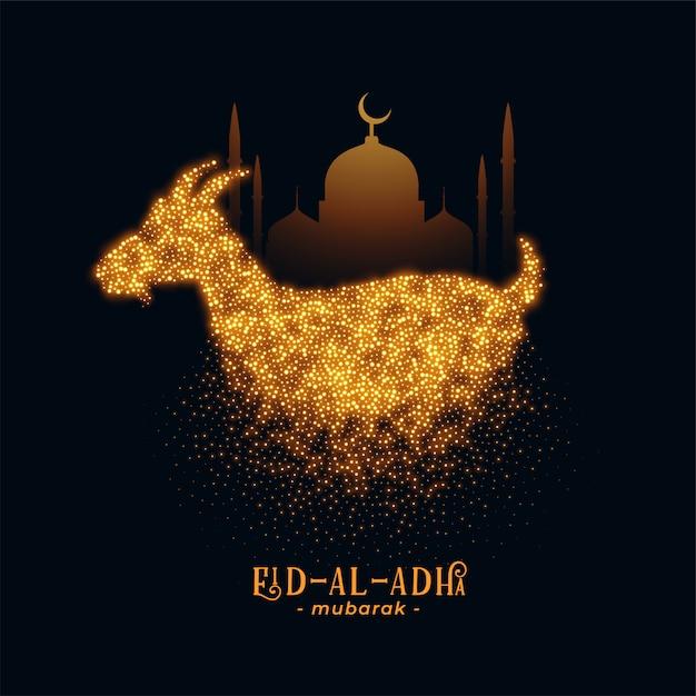 Eid al adha saludo con cabra y mezquita. vector gratuito