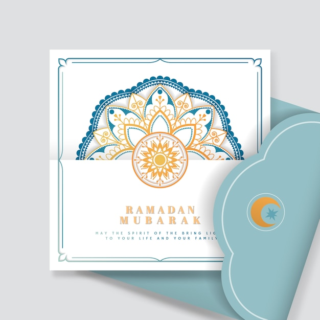 Eid mubarak blanco y azul vector postal vector gratuito