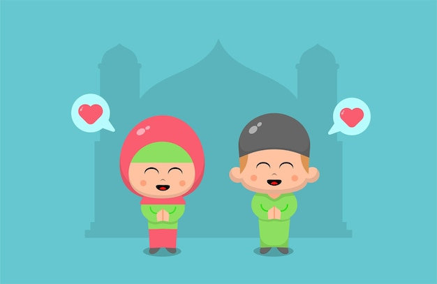 Eid mubarak con niño y niña rezando Vector Premium