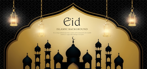 Eid mubarak royal luxury banner Vector Premium