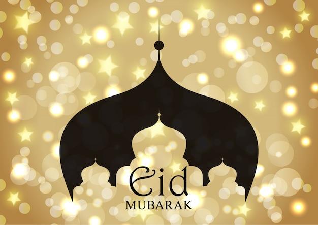 Eid mubarak con silueta de mezquita en estrellas doradas y luces bokeh vector gratuito