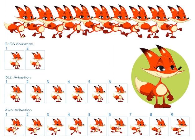 Ejecutar, ojos parpadeantes y animaciones inactivas de personaje de zorro de dibujos animados. vector gratuito