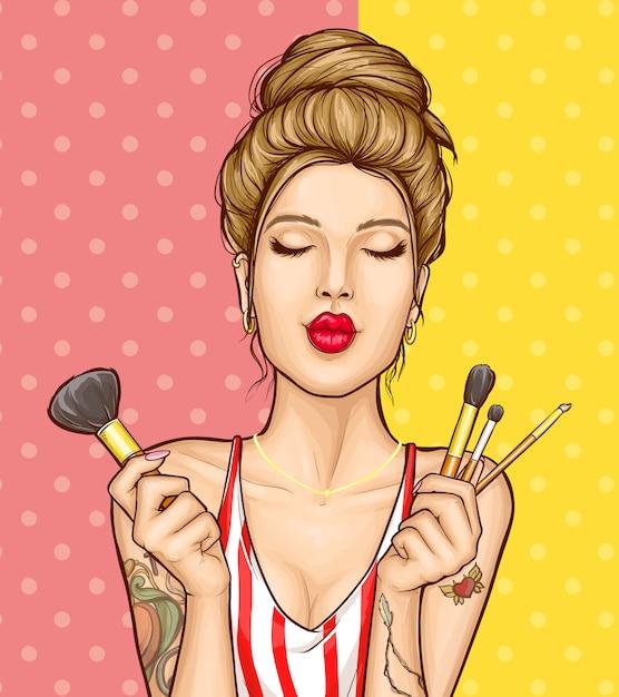Ejemplo del anuncio de los cosméticos del maquillaje con el retrato de la mujer de la moda vector gratuito