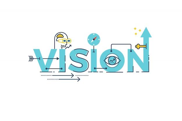 Ejemplo del diseño de la tipografía de las letras de la palabra de vision del negocio Vector Premium