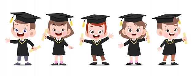 Ejemplo feliz del vector de la graduación de los niños aislado Vector Premium