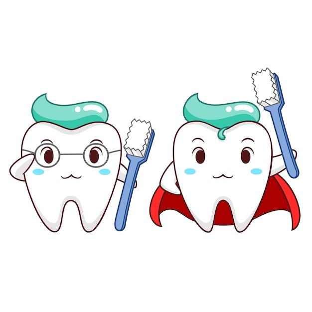 Ejemplo de la historieta del diente sano del super héroe. Vector Premium