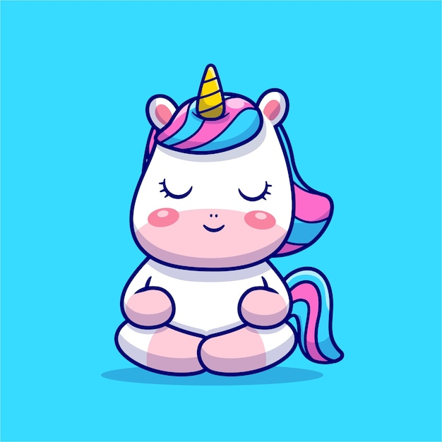 Ejemplo lindo del icono de la historieta de la meditación del unicornio. vector gratuito