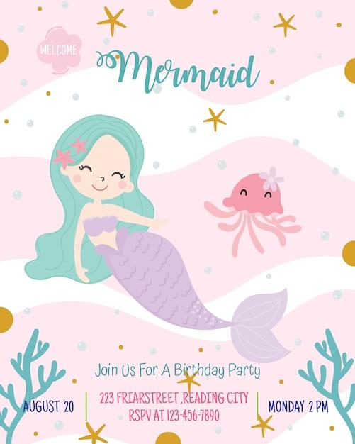 Ejemplo lindo del vector de la tarjeta de la invitación de la fiesta de cumpleaños del tema de la sirena. Vector Premium