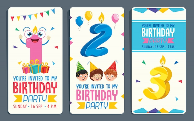 Ejemplo del vector del diseño de tarjeta de la invitación de la fiesta de cumpleaños de los niños Vector Premium