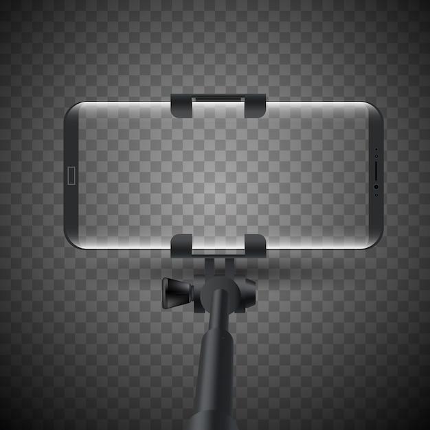 Ejemplo del vector del palillo de monopod selfie con smartphone. Vector Premium