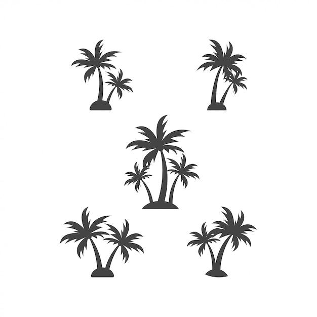 Ejemplo del vector de la plantilla del elemento del diseño gráfico de la silueta de la palmera Vector Premium