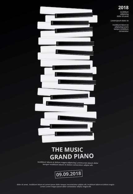 Ejemplo del vector de la plantilla del fondo del cartel del piano de cola de la música Vector Premium