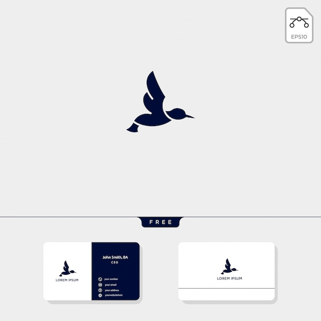 El ejemplo del vector de la plantilla del logotipo del esquema del pájaro de vuelo y el diseño de la tarjeta de visita incluyen Vector Premium