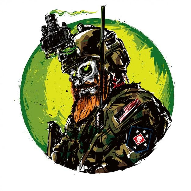 Ejército cráneo Vector Premium