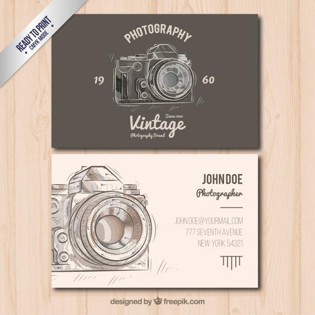 El fotógrafo negocio de tarjetas en estilo vintage Vector Gratis