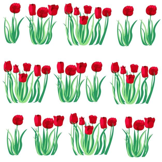 El jard n de tulipanes rojos en primavera descargar for Maquetas de jardines