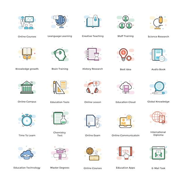 Elearning vector icons set Vector Premium