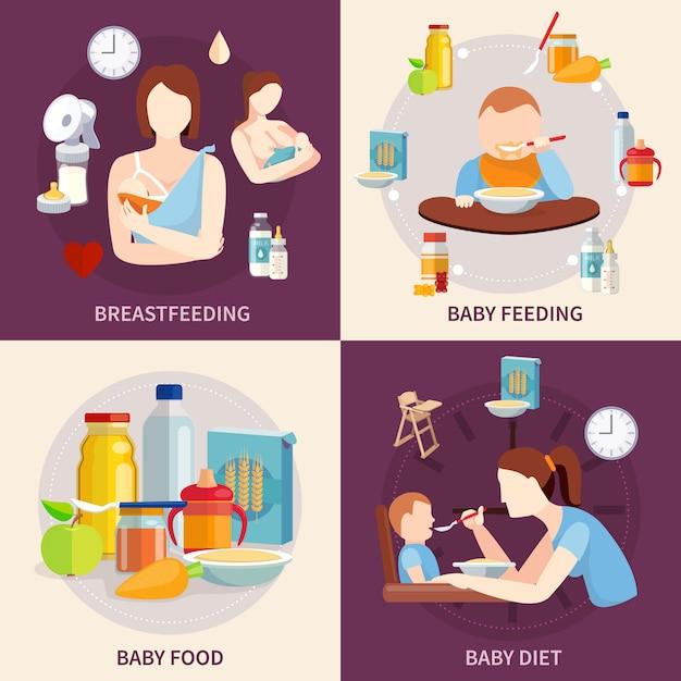 Elección de alimentos saludables para bebés y niños pequeños 4 iconos planos cuadrados composición banner vector gratuito