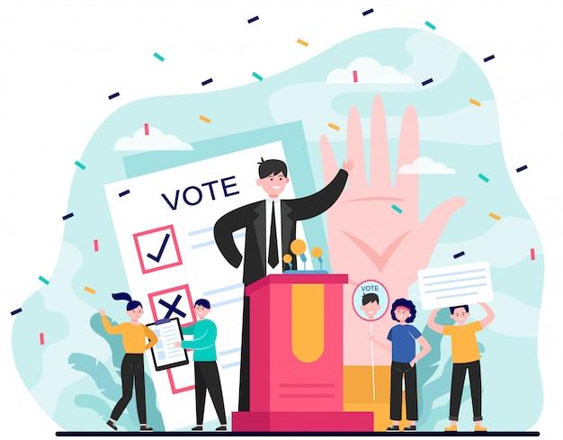 Elección y campaña política. vector gratuito