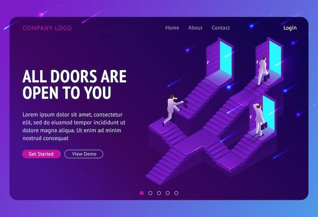 Elección, página de inicio isométrica de escalera de carrera. oportunidad de negocio, camino al éxito vector gratuito