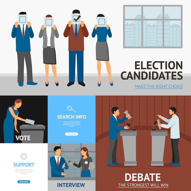 Elección política banners planas composición vector gratuito