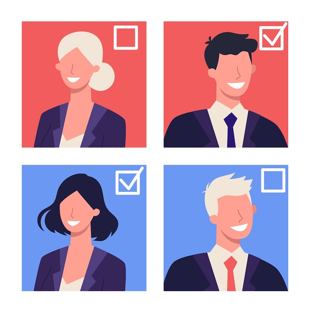 Elecciones en concepto de estados unidos. primarias y caucus. idea de política y gobierno estadounidense. la gente vota por el candidato. democracia y gobierno. Vector Premium