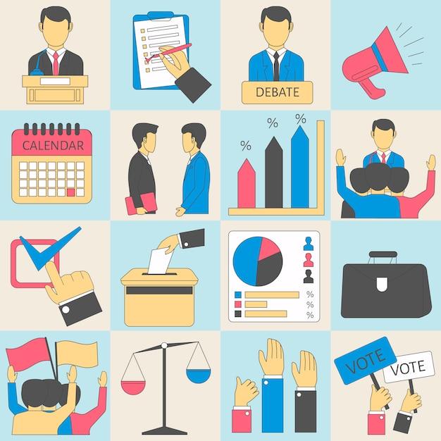 Elecciones o votación infografía vector iconos Vector Premium