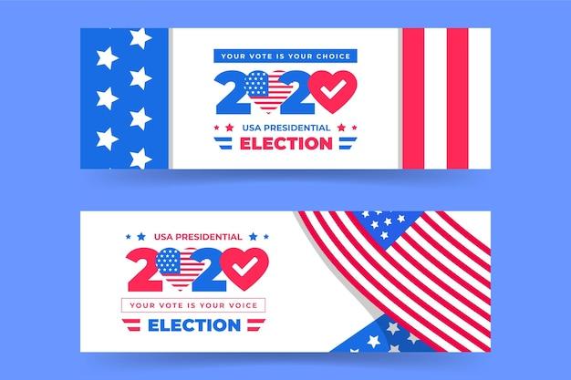 Elecciones presidenciales de 2020 en la colección de carteles de estados unidos vector gratuito