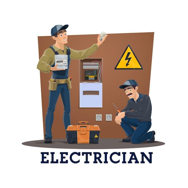 Electricistas con herramientas, trabajadores de servicios eléctricos. Vector Premium