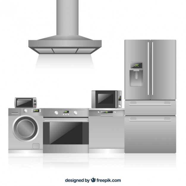 Electrodom sticos de cocina en dise o plano descargar - Electrodomesticos de diseno ...