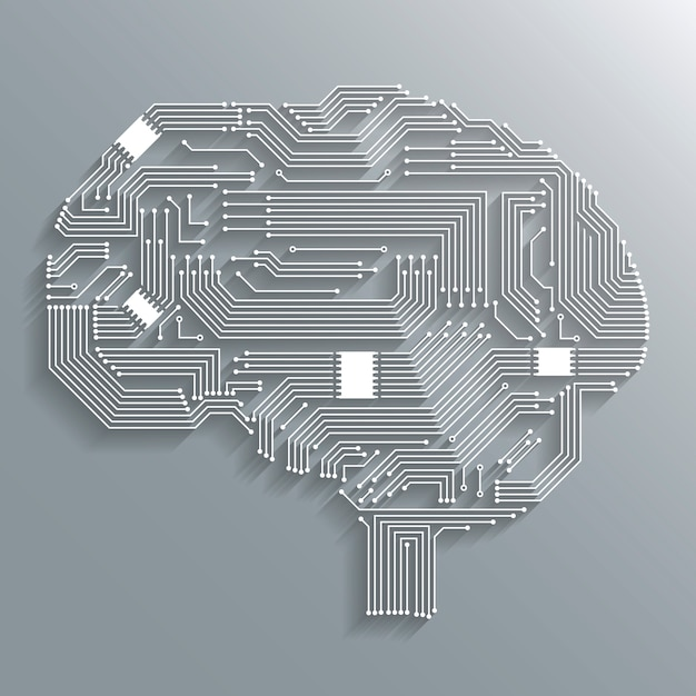 Electrónica de la informática de la placa de circuito de diseño de la forma del cerebro o emblema aislado ilustración vectorial Vector Gratis