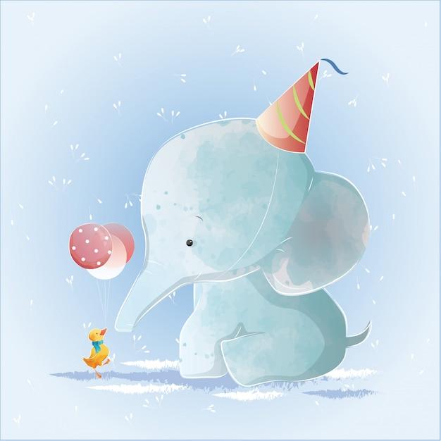 Elefante bebé que tiene un cumpleaños Vector Premium
